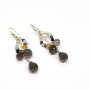 Boucles d oreilles de createur en argent et pierres fines