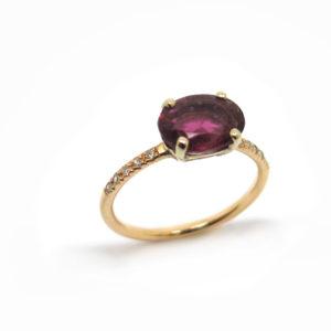 solitaire tourmaline rose et diamants sur or rose