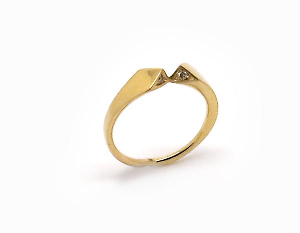 petite bague or jaune et diamants