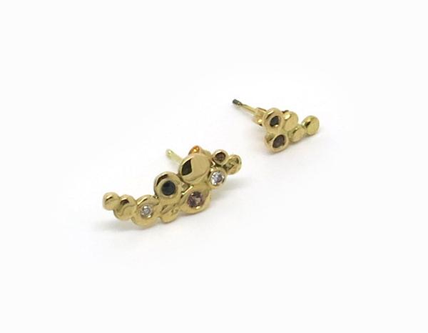boucles d'oreilles or jaune et pierres