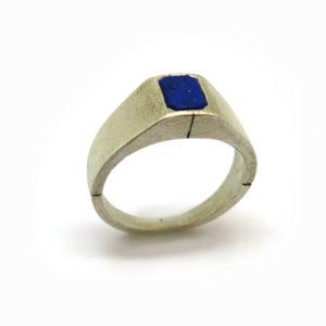 Chevalière homme argent lapis-lazuli
