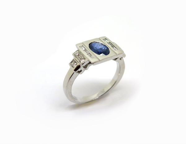 Bague années 4 saphir diamants