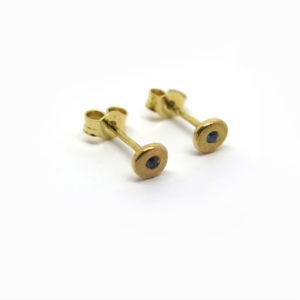 Puces d'oreilles fines en or jaune et pierres